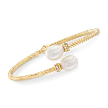 """Italian 9-9.5mm Cultured Pearl and .10 ct. t.w. CZ Bangle Bracelet in 14kt Yellow Gold. 7.5"""", , default"""