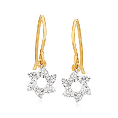 Diamond-Accented Star Drop Earrings in 14kt Yellow Gold