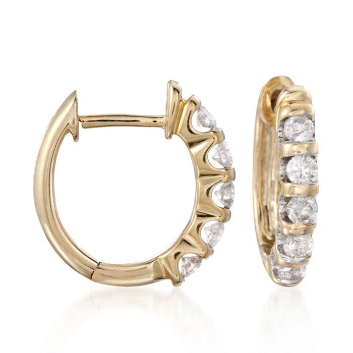 """.50 ct. t.w. Diamond Huggie Hoop Earrings in 14kt Yellow Gold. 1/2"""""""