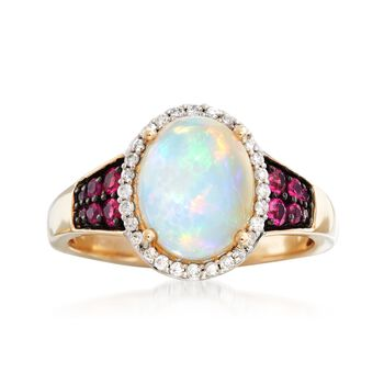 Ethiopian Opal and .22 ct. t.w. Ruby Ring With .14 ct. t.w. Diamonds in 14kt Yellow Gold, , default