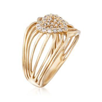 .35 ct. t.w. Diamond Openwork Heart Ring in 14kt Yellow Gold, , default