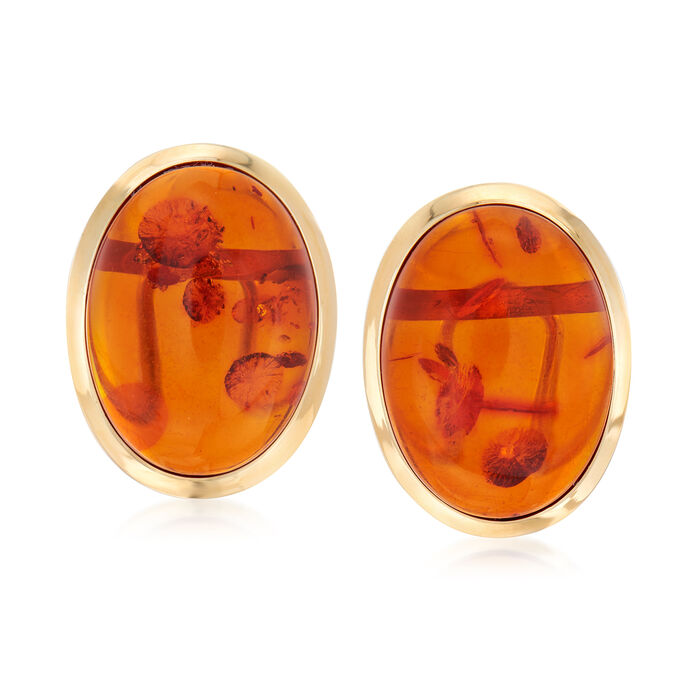 Oval Cabochon Amber Earrings in 14kt Yellow Gold, , default