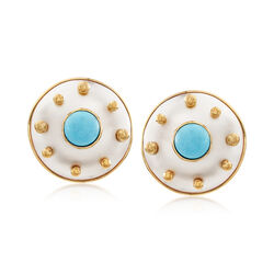 C. 1980 Vintage 22mm Mother-Of-Pearl and 8mm Turquoise Circle Earrings in 18kt Yellow Gold, , default