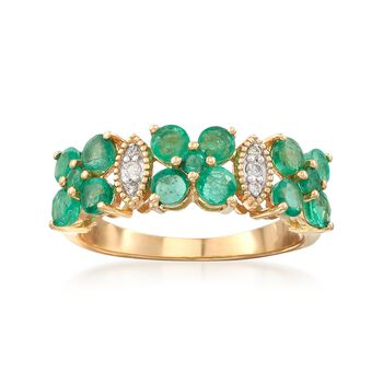 1.40 ct. t.w. Emerald and Diamond-Accented Floral Ring in 14kt Yellow Gold, , default