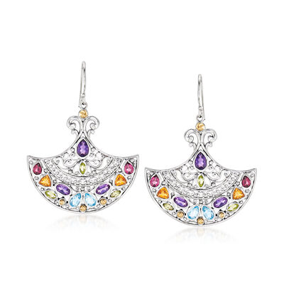 4.40 ct. t.w. Multi-Gemstone Fan Drop Earrings in Sterling Silver with 18kt Yellow Gold