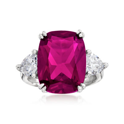 12.70 Carat Simulated Ruby and 1.75 ct. t.w. CZ Ring in Sterling Silver, , default