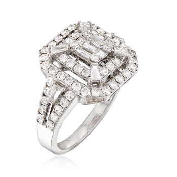 C. 2005 Vintage 1.45 ct. t.w. Diamond Square-Top Ring in 14kt White Gold. Size 7