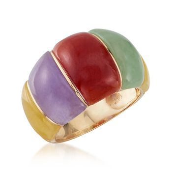 Multicolored Jade Dome Ring in 14kt Yellow Gold, , default