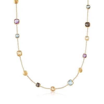 Italian 13.70 ct. t.w. Multi-Stone Semi-Precious Necklace in 18kt Gold Over Sterling, , default