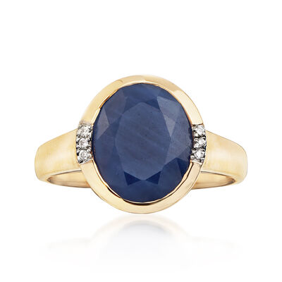 4.50 Carat African Sapphire Ring with Diamond Accents in 14kt Yellow Gold