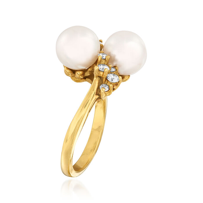 C. 1980 Vintage Cultured Pearl and .35 ct. t.w. Diamond Ring in 18kt Yellow Gold