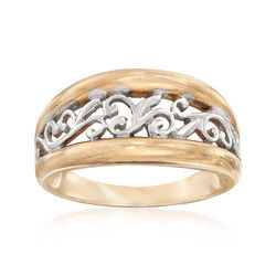 C. 2000 Vintage 10kt Two-Tone Gold Openwork Scroll Ring, , default