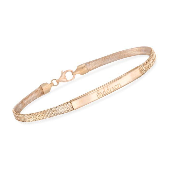 "Italian 14kt Yellow Gold Name Bar ID Bracelet. 7"", , default"