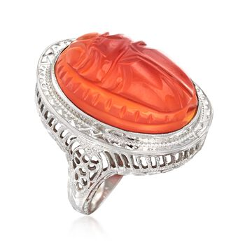 C. 1950 Vintage 19x15mm Carved Orange Carnelian Ring in 14kt White Gold. Size 5.5