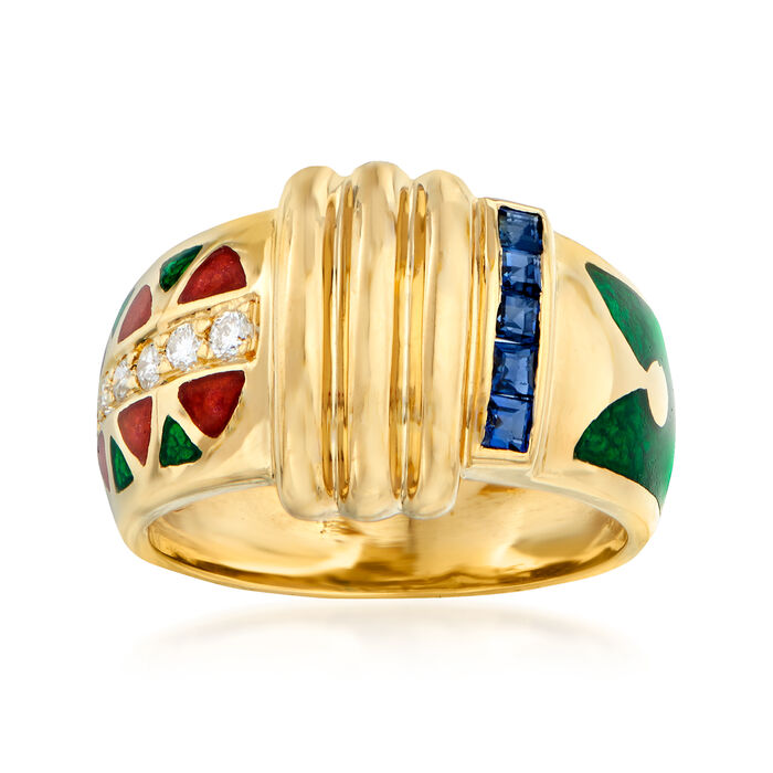 C. 1990 Vintage .25 ct. t.w. Sapphire and .17 ct. t.w. Diamond Enamel Ring in 18kt Yellow Gold. Size 6.5