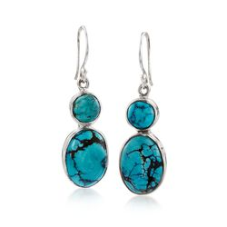 Double Turquoise Drop Earrings in Sterling Silver, , default