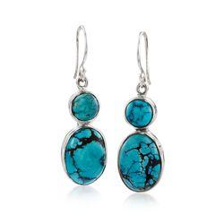 Double Turquoise Drop Earrings in Sterling Silver, , default