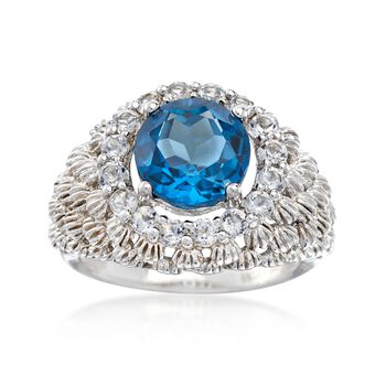 3.90 Carat London Blue Topaz and .90 ct. t.w. White Topaz Ring in Sterling Silver, , default