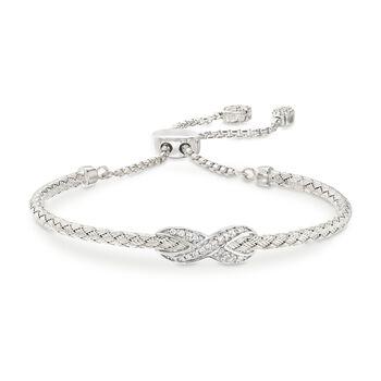"Charles Garnier ""Infinity"" .50 ct. t.w. CZ Bolo Bracelet in Sterling Silver. 7"", , default"