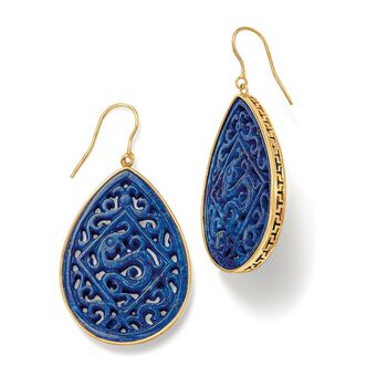 Carved Lapis Scrolled Teardrop Earrings in 14kt Yellow Gold