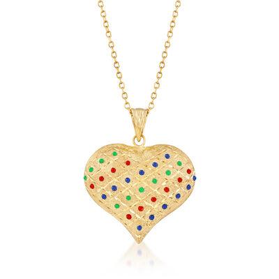 Multicolored Enamel Heart Pendant Necklace in 18kt Gold Over Sterling, , default