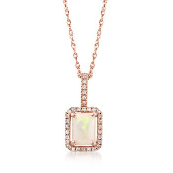 "Opal and .12 ct. t.w. Diamond Frame Pendant Necklace in 14kt Rose Gold. 18"", , default"