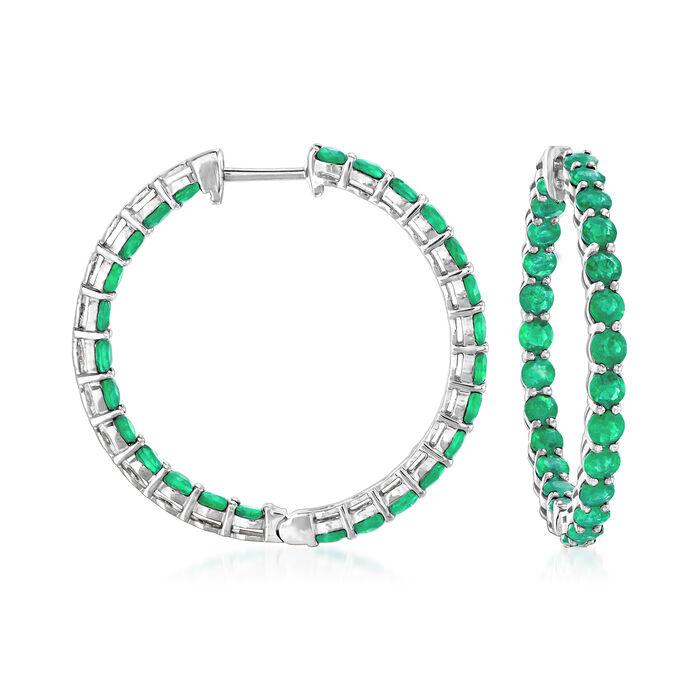 """4.20 ct. t.w. Emerald Inside-Outside Hoop Earrings in 18kt White Gold. 1"""", , default"""
