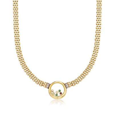 C. 1980 Vintage .96 ct. t.w. Floating Multi-Stone Necklace in 18kt Yellow Gold, , default