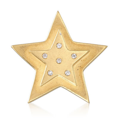C. 1990 Vintage Star Pin With .15 ct. t.w. Diamonds in 18kt Yellow Gold, , default