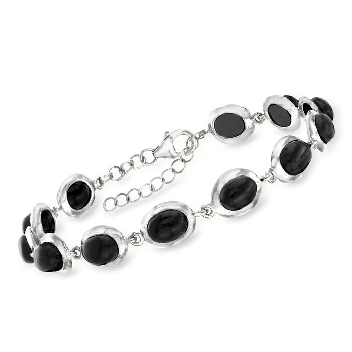 """Black Onyx Bracelet in Sterling Silver. 8"""""""