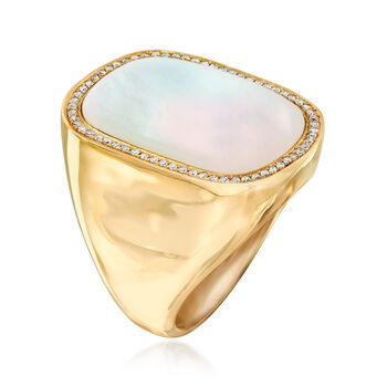 Mother-Of-Pearl and .19 ct. t.w. Diamond Ring in 14kt Yellow Gold. Size 7