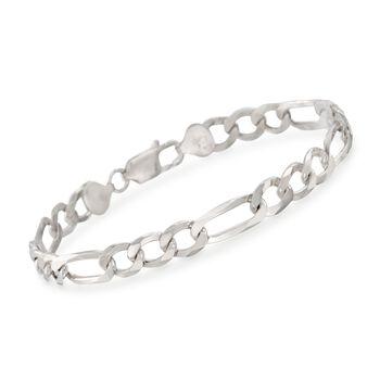 """Men's 7.7mm Sterling Silver Figaro Link Bracelet. 8.5"""", , default"""