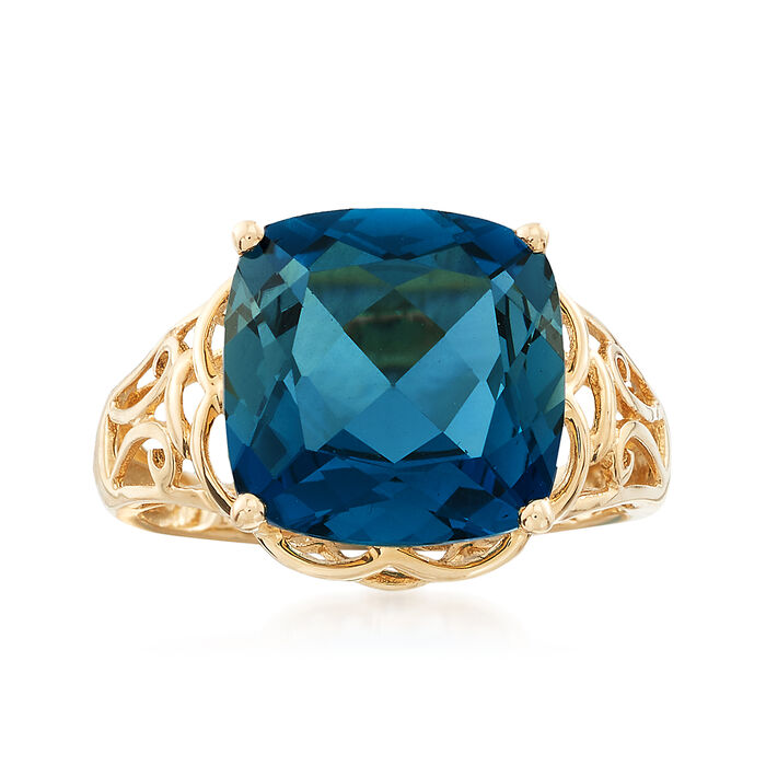 8.00 Carat London Blue Topaz Ring in 14kt Yellow Gold