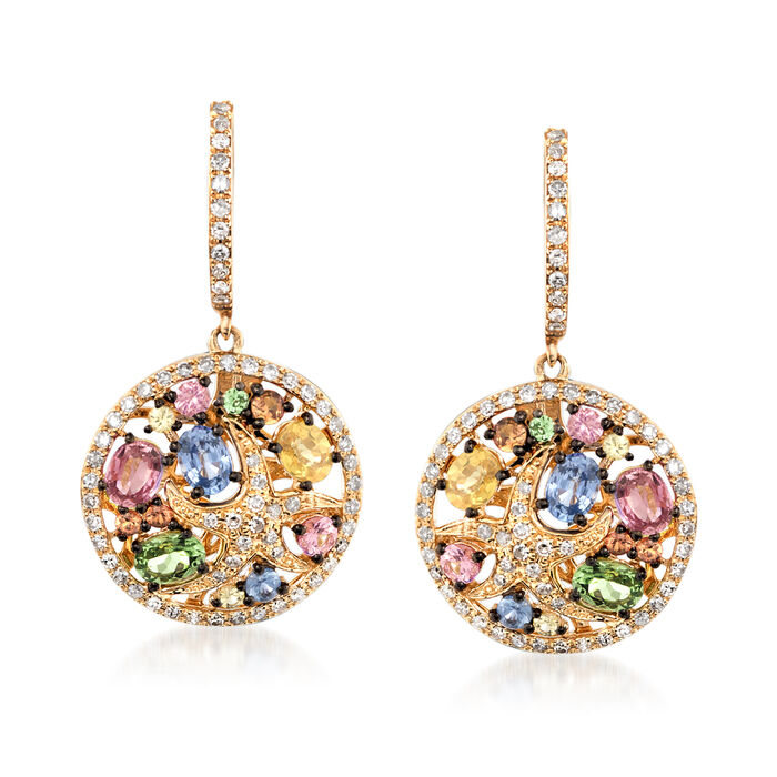 2.40 ct. t.w. Multicolored Sapphire and .51 ct. t.w. Diamond Starfish Earrings in 14kt Yellow Gold , , default