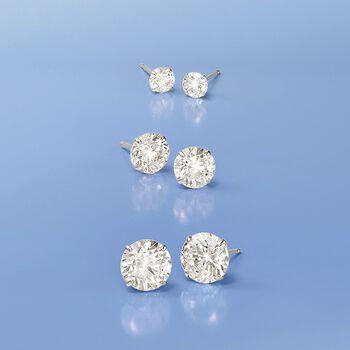 3.00 ct. t.w. CZ Stud Earrings in 14kt White Gold