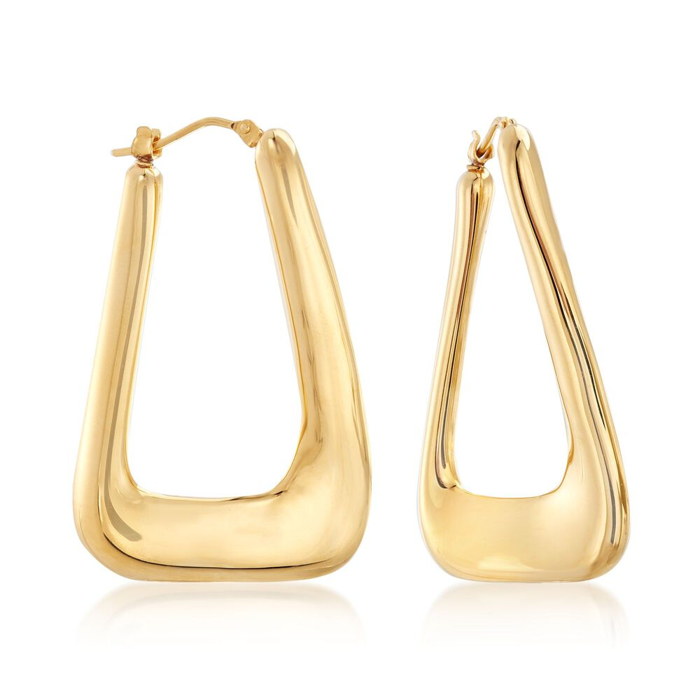 Italian Andiamo 14kt Gold Rectangular Hoop Earrings 1 2 Default