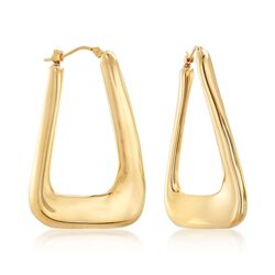 Italian Andiamo 14kt Gold Rectangular Hoop Earrings, , default