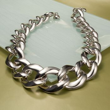 Andiamo Sterling Silver Graduated Curb-Link Necklace, , default
