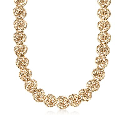 14kt Yellow Gold Rosette-Link Necklace, , default