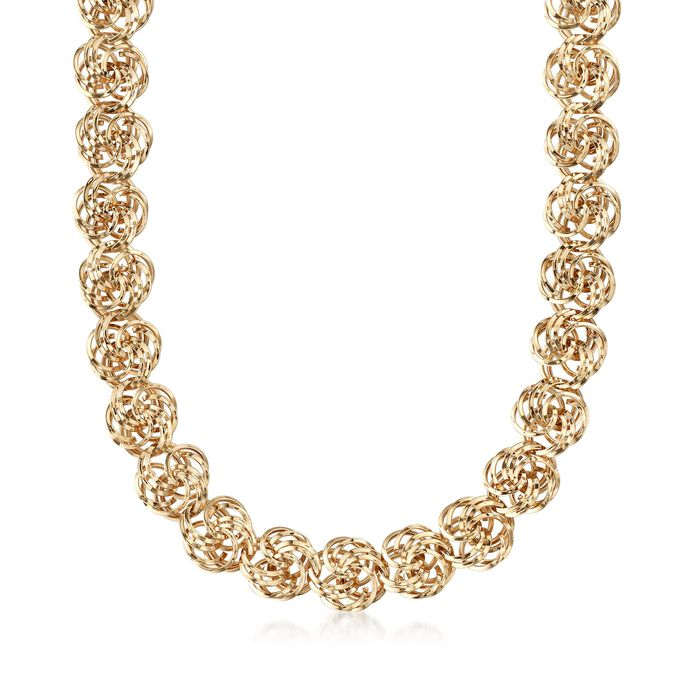 14kt Yellow Gold Rosette-Link Necklace