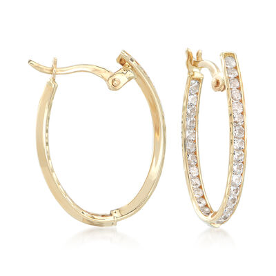 1.45 ct. t.w. CZ Inside-Outside Oval Hoop Earrings in 14kt Yellow Gold, , default