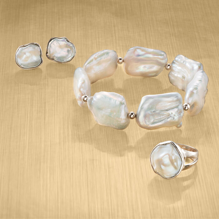 17-20mm Cultured Baroque Pearl Stretch Bracelet with Sterling Silver