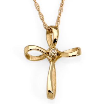 14kt Yellow Gold Cross Necklace with Diamond, , default