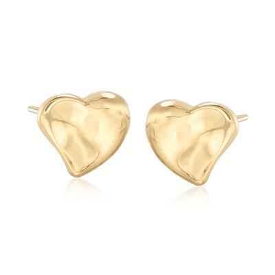 Italian 18kt Yellow Gold Heart Earrings, , default
