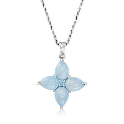 11.00 ct. t.w. Milky Aquamarine and .10 Carat Blue Topaz Floral Pendant Necklace in Sterling Silver