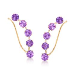 2.00 ct. t.w. Amethyst Ear Crawlers in 14kt Yellow Gold, , default