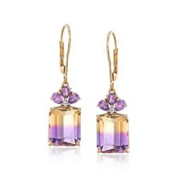10.00 ct. t.w. Ametrine and .70 ct. t.w. Amethyst Drop Earrings With Diamond Accents in 14kt Gold, , default