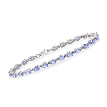 """6.00 ct. t.w. Tanzanite Tennis Bracelet in Sterling Silver. 7.5"""", , default"""