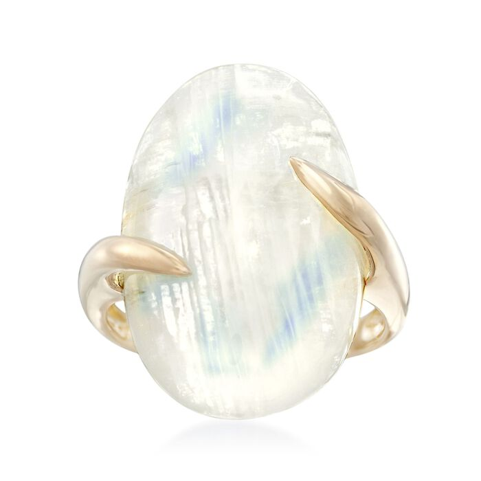 Moonstone Bypass Ring in 14kt Yellow Gold. Size 6