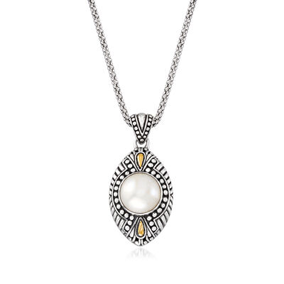 12mm Cultured Mabe Pearl Bali Pendant Necklace in Sterling Silver and 18kt Yellow Gold